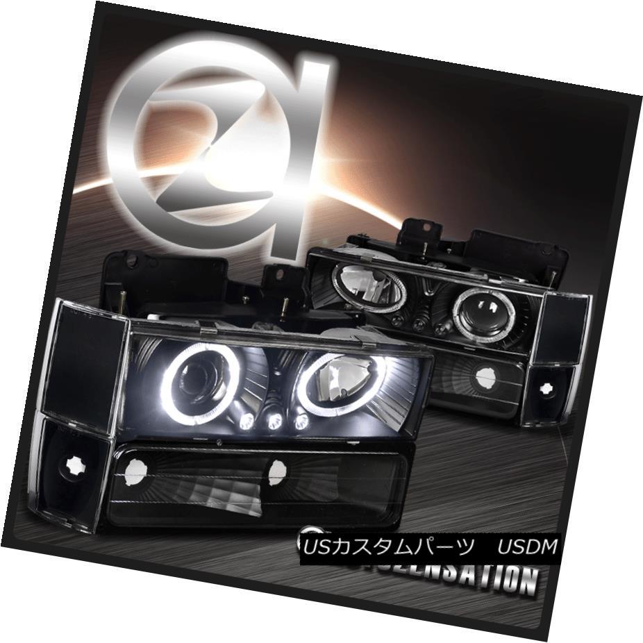 ヘッドライト 88-93 C10 Sierra Silverado Black Halo Projector Headlights+Corner Bumper Lamp 88-93 C10シエラシルバラードブラックハロープロジェクターヘッドライト+ Cor  nerバンパーランプ