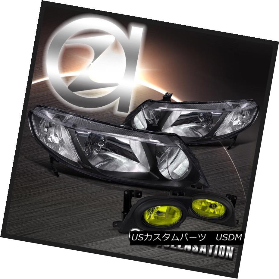 ヘッドライト Fit 06-08 Honda Civic 4dr Black Crystal Headlights+Yellow Fog Lamps Kit フィット06-08ホンダシビック4drブラッククリスタルヘッドライト+イエロー 低フォグランプキット