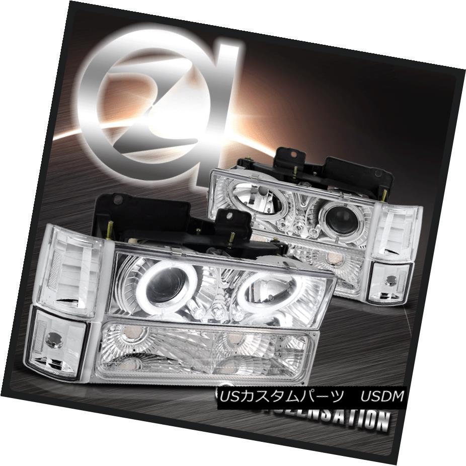 ヘッドライト 94-98 GMC Sierra 1500 2500 Clear Halo Projector Headlights+Corner Bumper Lamp 94-98 GMC Sierra 1500 2500クリアハロープロジェクターヘッドライト+ Cor  nerバンパーランプ