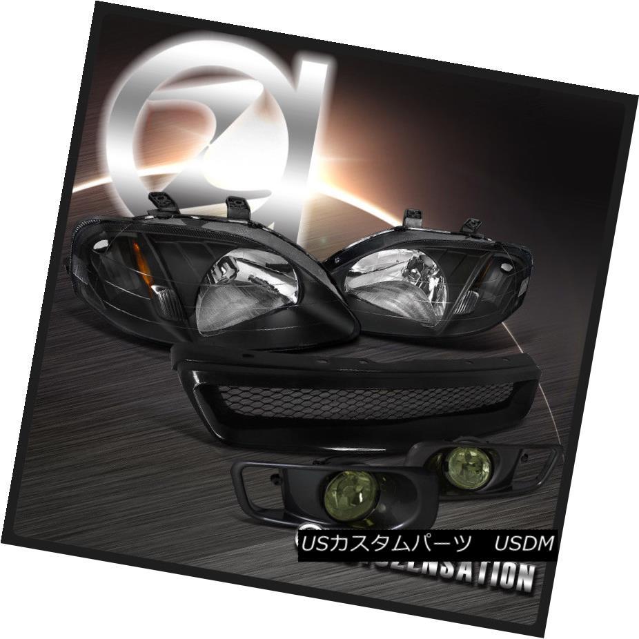 ヘッドライト For 1999-2000 Honda Civic Black Headlights+Smoke Fog Bumper Lamp+Mesh Grille 1999-2000ホンダシビックブラックヘッドライト+スモーキー keフォグバンパーランプ+メッシュグリル