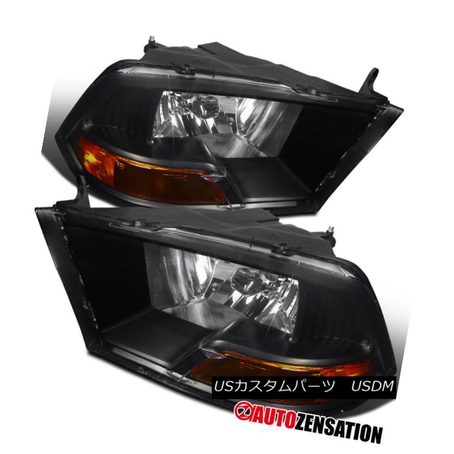 ヘッドライト 09-17 Dodge Ram 1500/2500/3500 All Models Black Crystal Headlights RH LH 09-17 Dodge Ram 1500/2500/3500すべてのモデルブラッククリスタルヘッドライトRH LH