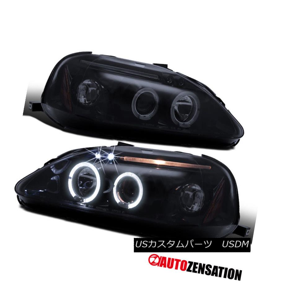 ヘッドライト Fit 99-00 Honda Civic [Glossy Black] LED DRL Halo Projector Headlights フィット99-00ホンダシビック[光沢のある黒] LED DRLハロープロジェクターヘッドライト