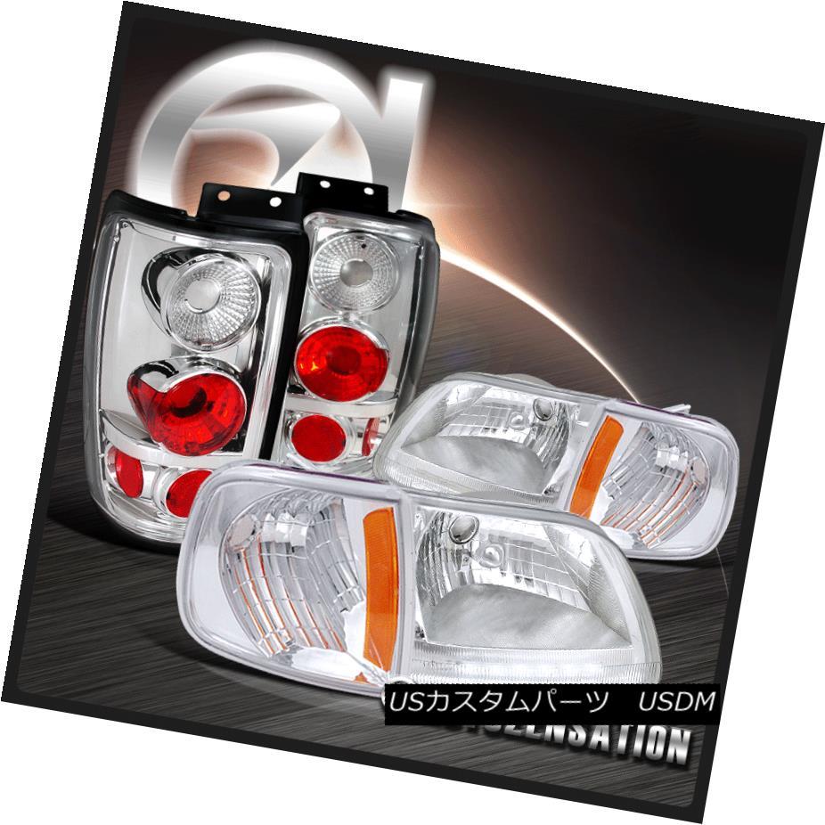 ヘッドライト Ford 97-02 Expedition Chrome LED Headlights+Corner Signal Lamps+Tail Lights フォード97-02遠征クロームLEDヘッドライト+ Cor  nerシグナルランプ+テールライト