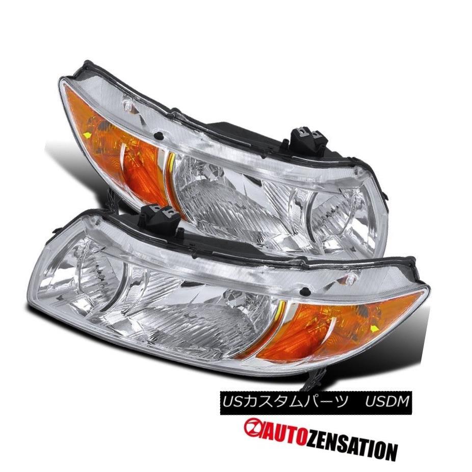 ヘッドライト Fit 06-11 Honda Civic 2Door Coupe Crystal Chrome Headlights+Amber Reflector フィット06-11ホンダシビック2ドアクーペクリスタルクロームヘッドライト+アンバー 反射器