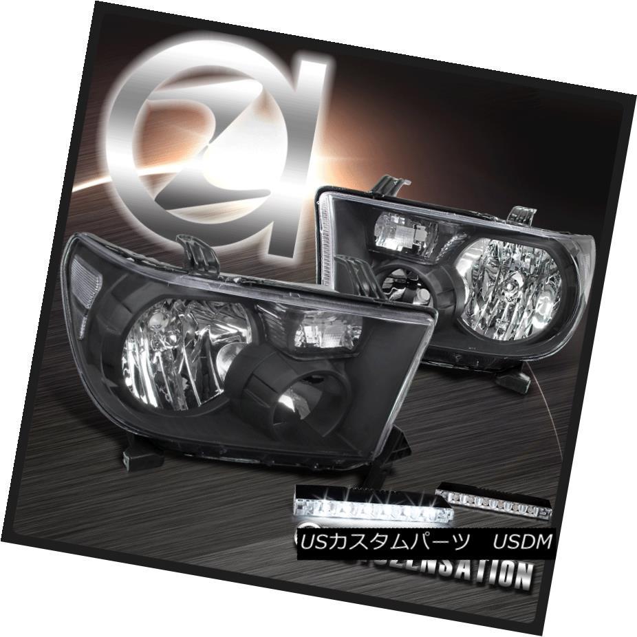 ヘッドライト For 07-13 Tundra 08-14 Sequoia Crystal Black Headlights+6-LED DRL Fog Lamps 07-13トンドラ08-14セコイアクリスタルブラックヘッドライト+ 6-L  ED DRLフォグランプ