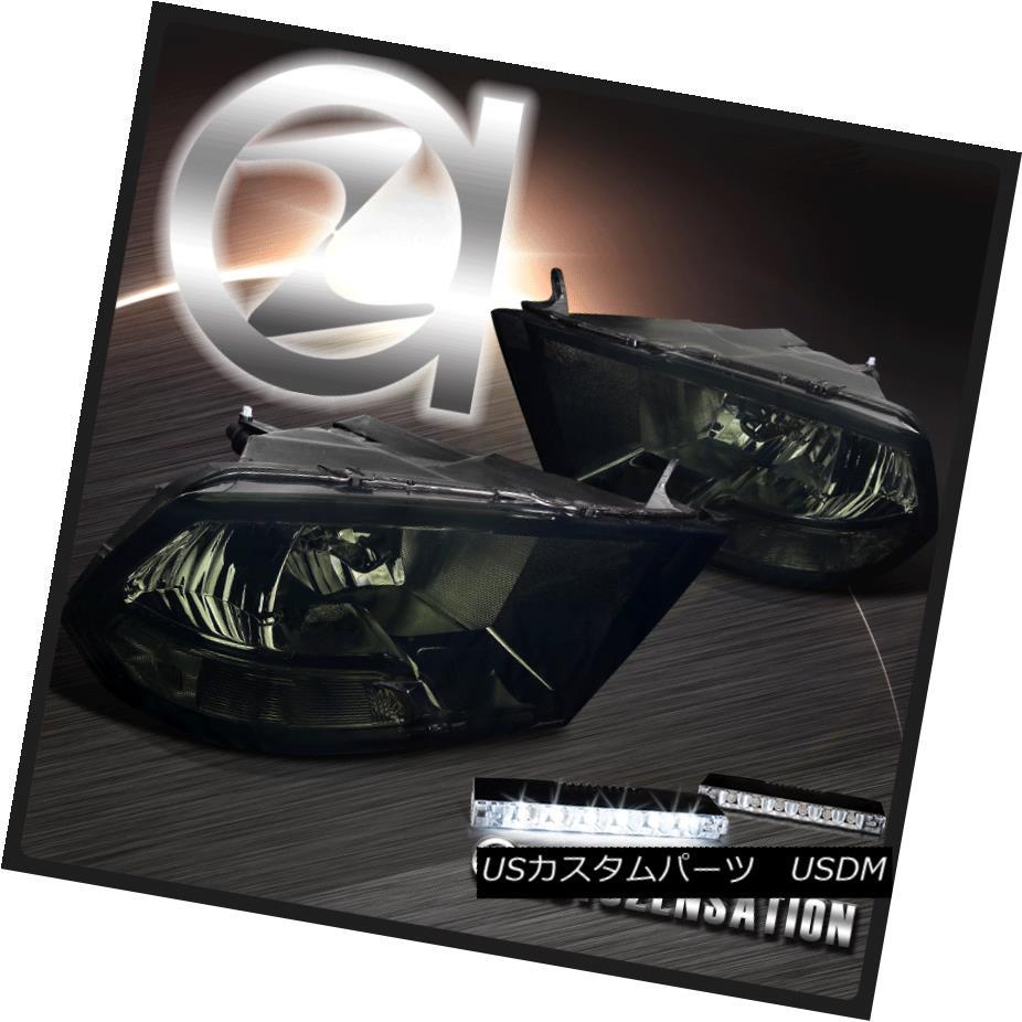 ヘッドライト Dodge 09-17 Ram 1500 2500 3500 Smoked Headlight+6-LED Bumper DRL Fog Lamp ドッジ09-17ラム1500 2500 3500スモークヘッドライト+ 6-LE  DバンパーDRLフォグランプ