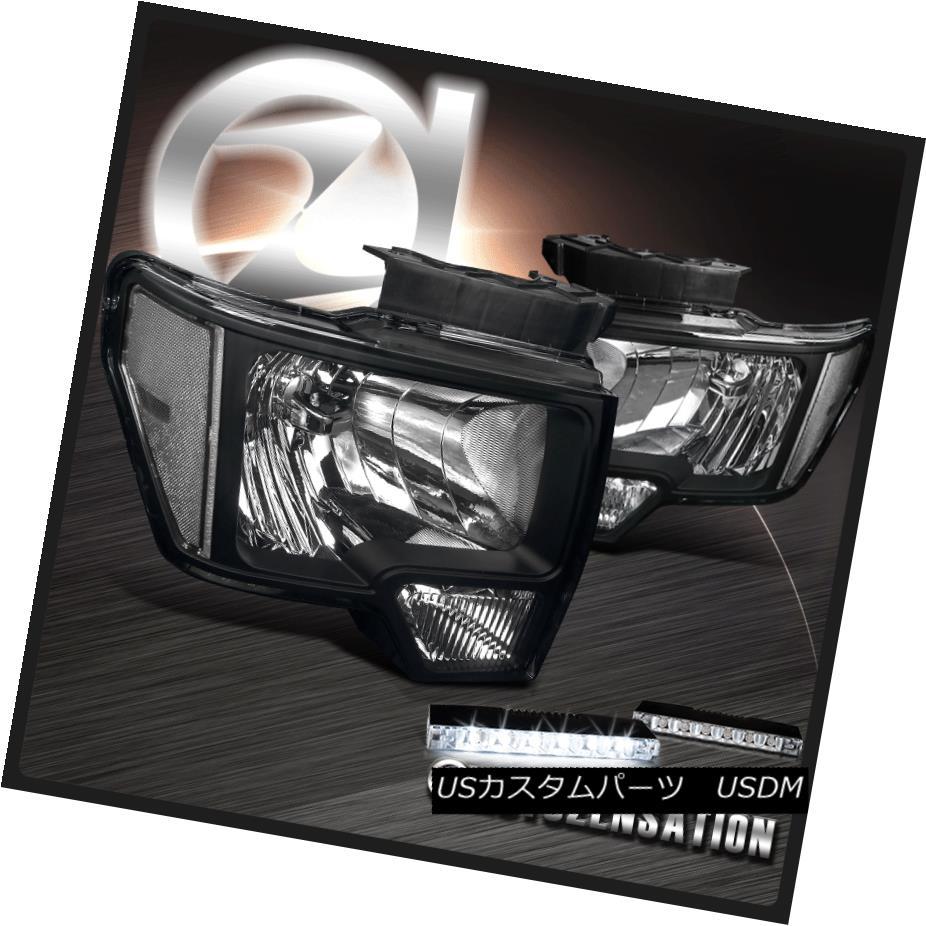 ヘッドライト 09-14 Ford F150 Black Crystal Headlights w/ Clear Reflector+6-LED DRL Fog Lamps 09-14フォードF150ブラッククリスタルヘッドライト、クリアリフレクター+ 6-LE D DRLフォグランプ