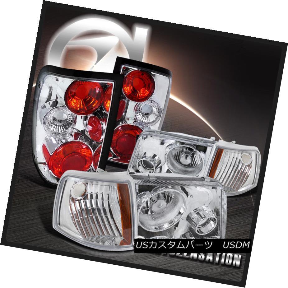 ヘッドライト 93-97 Ford Ranger Chrome Headlights Projector Fog Lamps+Corner Lights+Tail Lamps 93-97 Ford Rangerクロームヘッドライトプロジェクターフォグランプ+コーナーライト+テールランプ