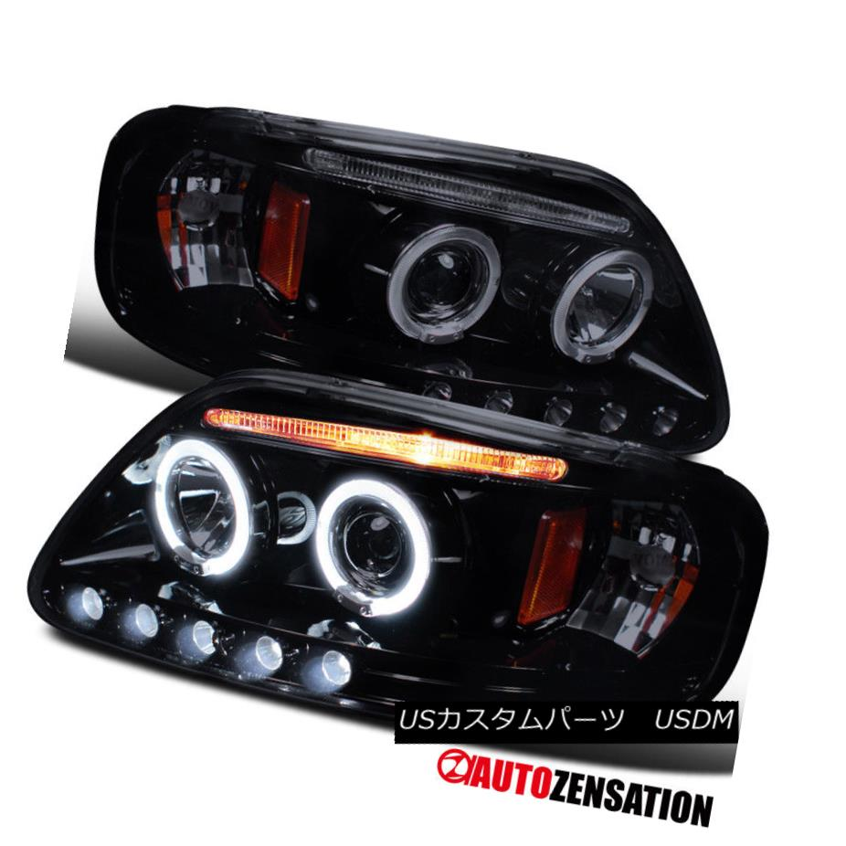 ヘッドライト 97-03 F150/ 97-02 Expedition [Glossy Black] LED DRL Halo Projector Headlights 97-03 F150 / 97-02遠征[Glossy Black] LED DRLハロープロジェクターヘッドライト