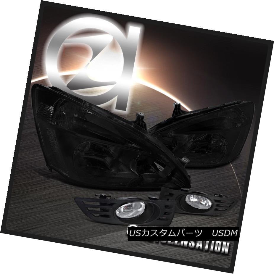 ヘッドライト Fit 03-05 Honda Accord 2DR Coupe Smoke Crystal Headlights+Clear Fog Bumper Lamp フィット03-05ホンダアコード2DRクーペスモーククリスタルヘッドライト+ Cle  arフォグバンパーランプ