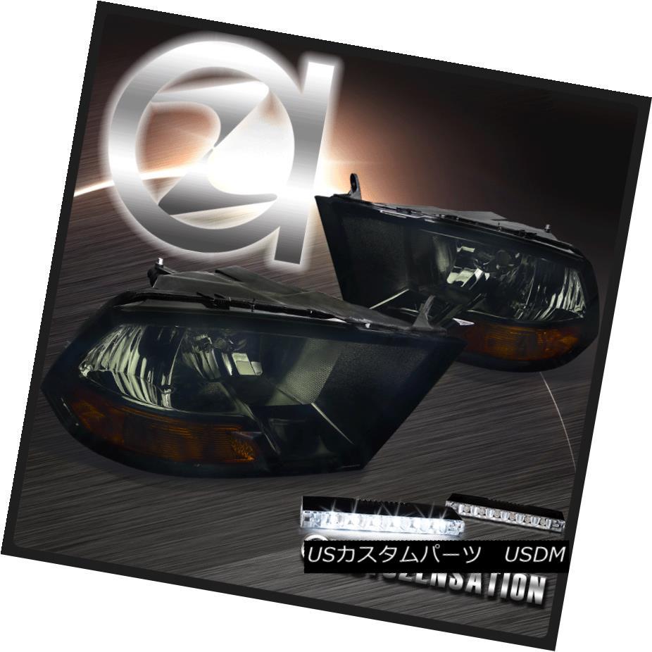 ヘッドライト 09-17 Dodge Ram 1500/2500/3500 Crystal Smoke Headlights+6-LED Bumper DRL Lamps 09-17 Dodge Ram 1500/2500/3500クリスタルスモークヘッドライト+ 6-L  EDバンパーDRLランプ