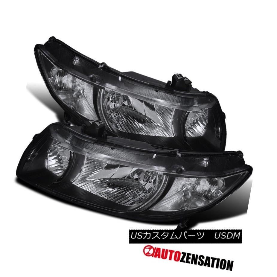 ヘッドライト Fit 06-11 Honda Civic 2Dr Coupe JDM Black Diamond Headlights Left+Right フィット06-11ホンダシビック2DrクーペJDMブラックダイヤモンドヘッドライト左+右