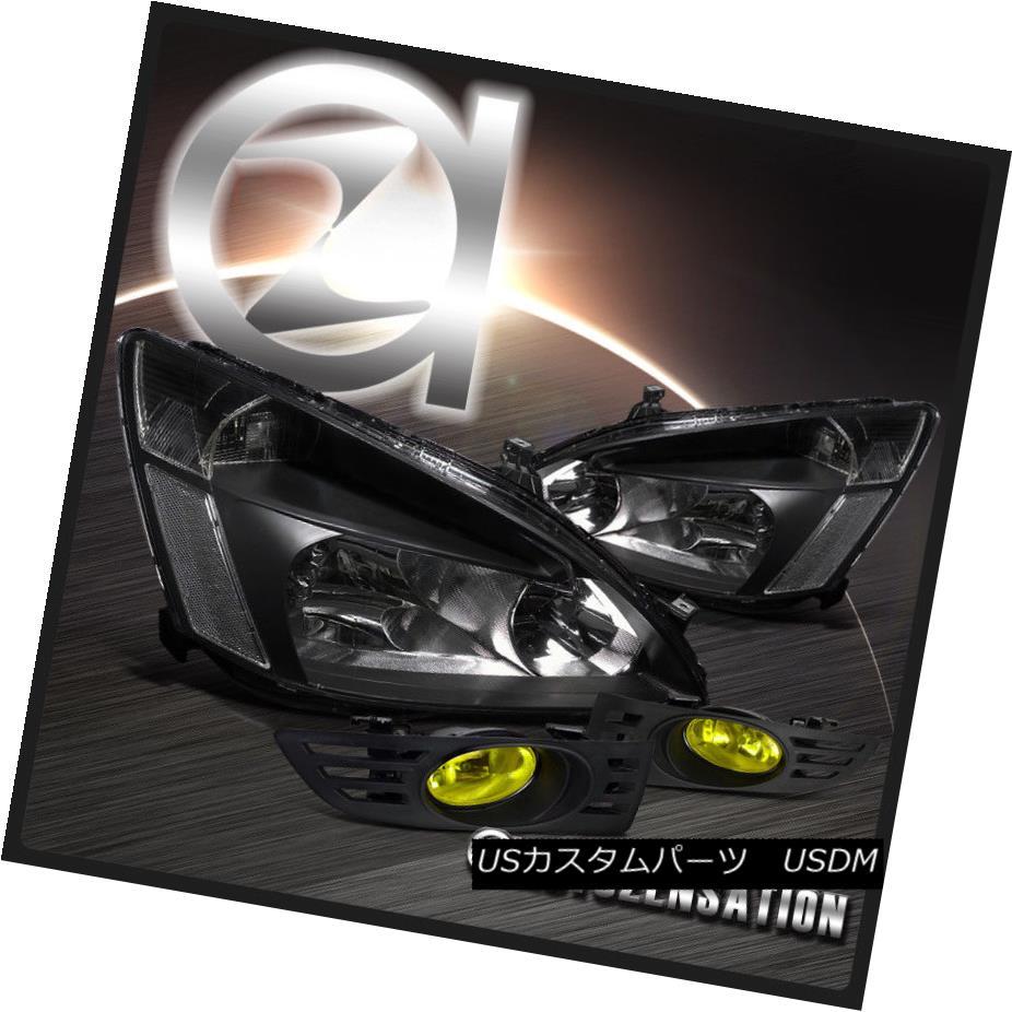 ヘッドライト Fit 03-05 Honda Accord 2DR Coupe Black Crystal Headlights+Yellow Fog Bumper Lamp フィット03-05ホンダアコード2DRクーペブラッククリスタルヘッドライト+イエロー 低フォグバンパーランプ