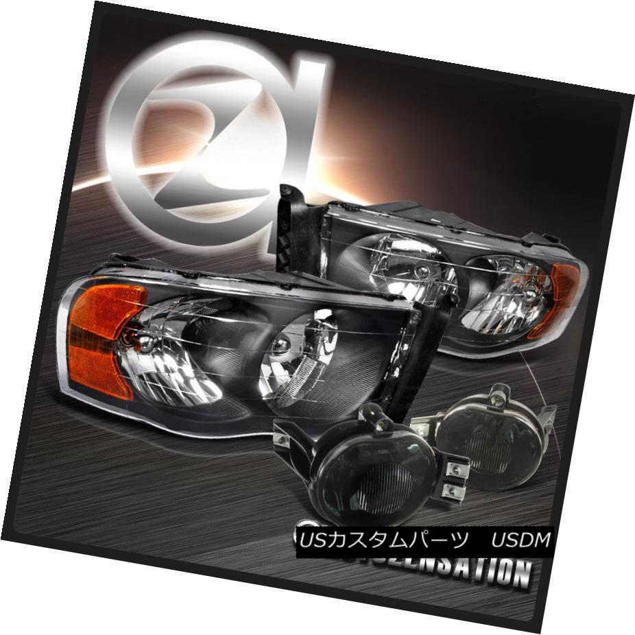 ヘッドライト 02-05 Ram 1500 2500 3500 Black Crystal Headlights+Smoke Fog Driving Bumper Lamps 02-05 Ram 1500 2500 3500ブラッククリスタルヘッドライト+スモーキー ke Fog Driving Bumper Lamps
