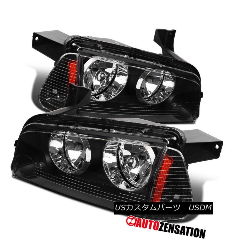 ヘッドライト 06-10 Dodge Charger Black Clear Headlights+Corner Lamps w/ Amber Reflector Pair 06-10ダッジチャージャブラッククリアヘッドライト+オレンジランプ/アンバー反射鏡ペア