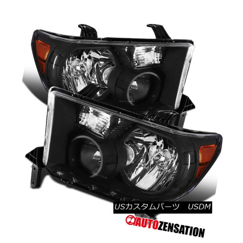 ヘッドライト For 07-13 Toyota Tundra 08-14 Sequoia Black Amber Diamond Headlights Pair 07-13トヨタトンドラ08-14セコイアブラックアンバーダイヤモンドヘッドライトペア