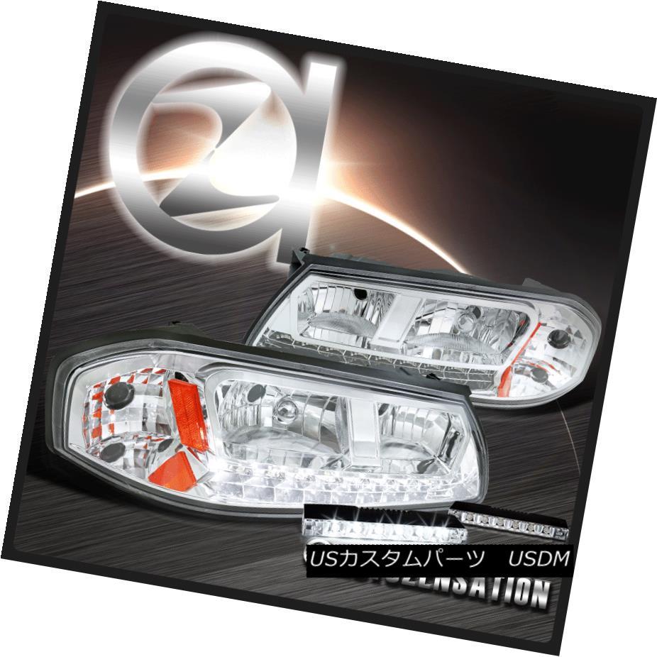 ヘッドライト 00-05 Chevy Impala Chrome Clear LED DRL Strip Headlights+6-LED Bumper Fog Lamp 00-05シボレーインパラクロームクリアLED DRLストリップヘッドライト+ 6-L  EDバンパーフォグランプ