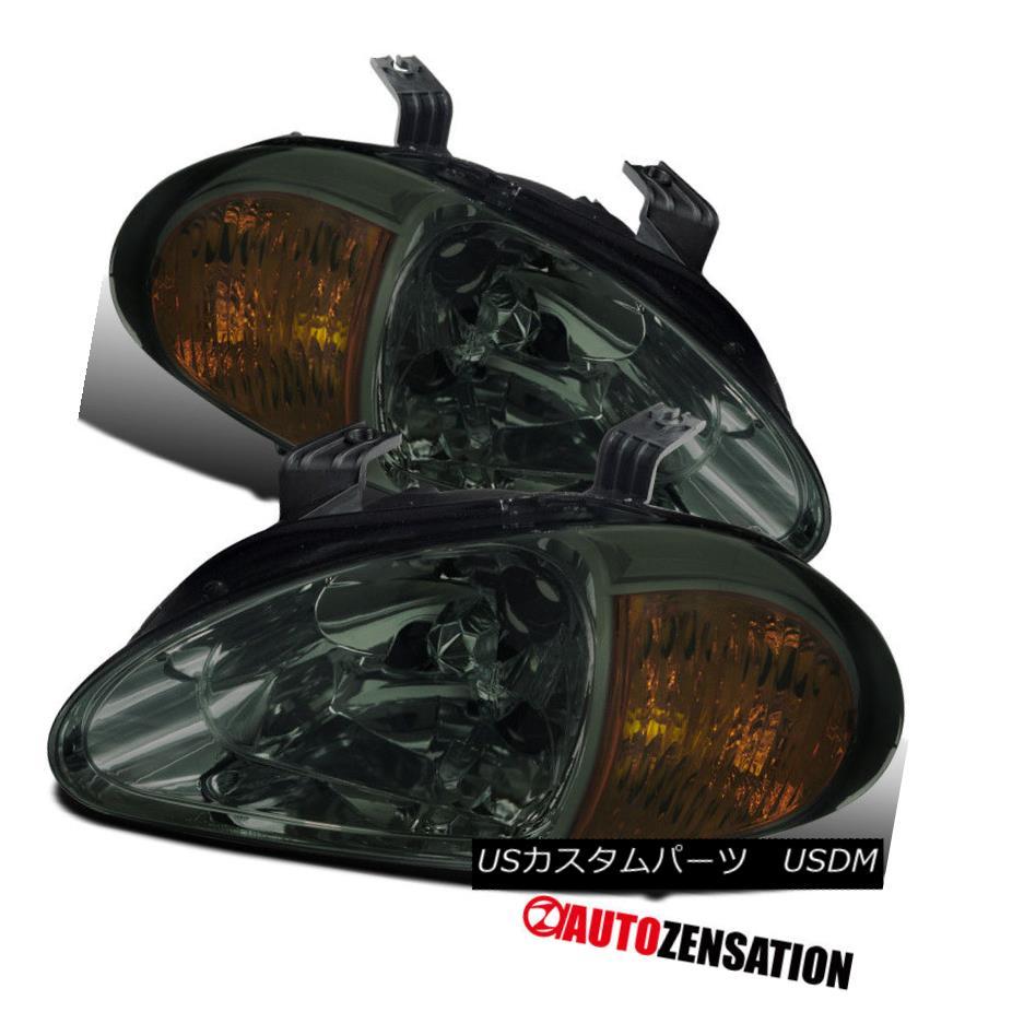 ヘッドライト Fit Honda 93-97 Del Sol Crystal Smoke Headlights w/ Built-in 2 In 1 Corner Lamps フィットホンダ93-97デルソルクリスタルスモークヘッドライト内蔵2 in 1コーナーランプ