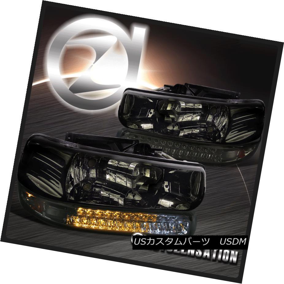 ヘッドライト 99-02 Silverado 00-06 Tahoe Suburban Smoke Crystal Headlight+LED Bumper Lamps 99-02 Silverado 00-06タホ郊外の煙クリスタルヘッドライト+ LEDバンパーランプ