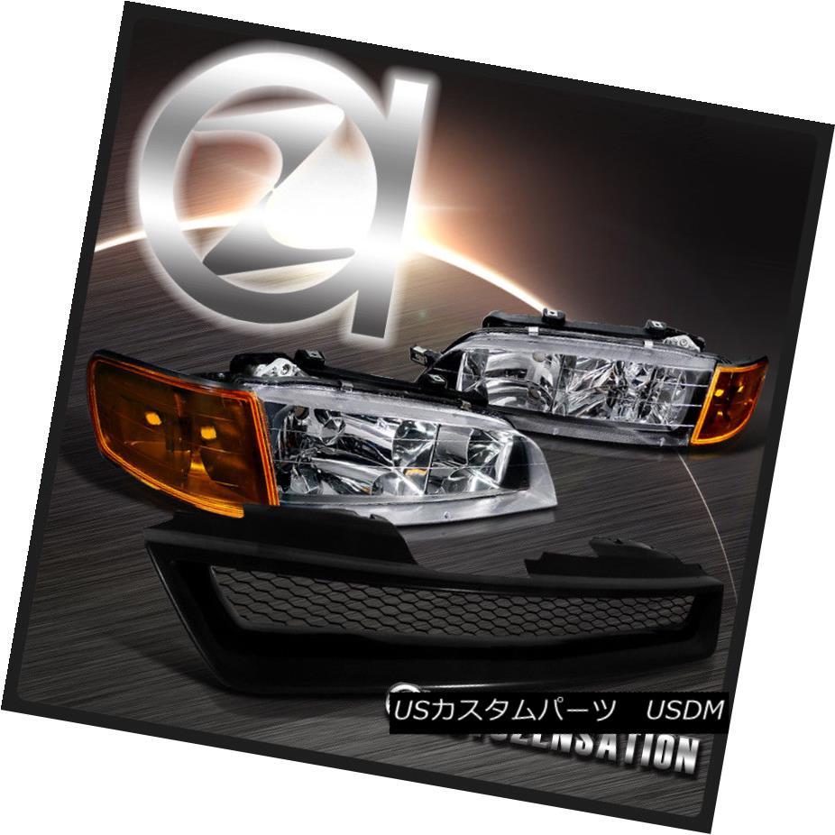 ヘッドライト Fit 94-97 Accord Black Headlights Amber Corner Signal+T-R Style Mesh Grille フィット94-97アコードブラックヘッドライトアンバーコーナー信号+ T-Rスタイルメッシュグリル