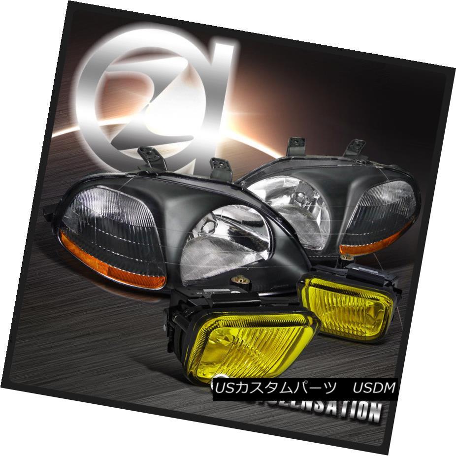 ヘッドライト Fit 96-98 Honda Civic JDM Crystal Black Headlights+Yellow Fog Lamps フィット96-98ホンダシビックJDMクリスタルブラックヘッドライト+イエロー 低フォグランプ