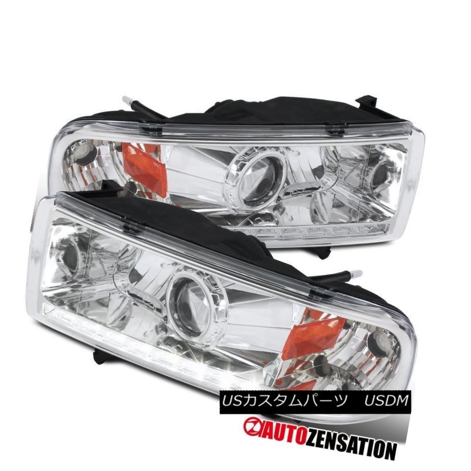 ヘッドライト Dodge 94-01 Ram 94-02 Ram Pickup Truck LED DRL Strip Chrome Projector Headlights ドッジ94-01ラム94-02ラムピックアップトラックLED DRLストリップクロムプロジェクターヘッドライト