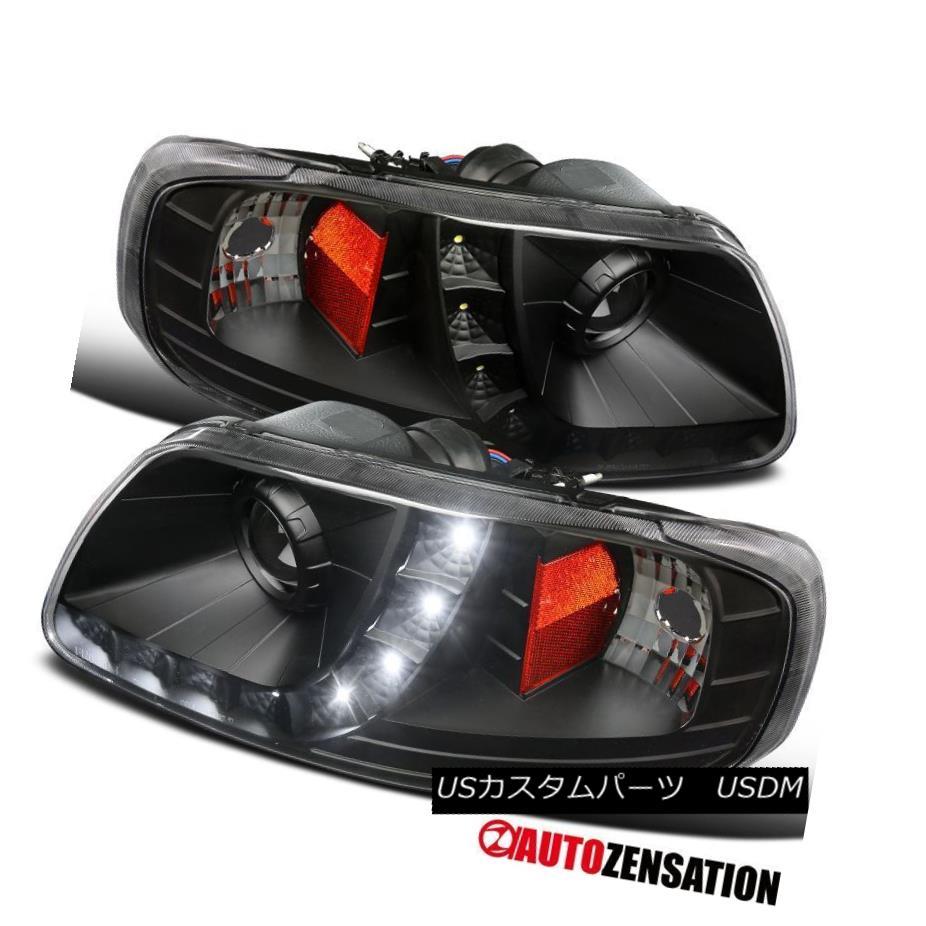 ヘッドライト Ford 97-03 F150 97-02 Expedition Black Clear LED DRL Strip Projector Headlights フォード97-03 F150 97-02遠征ブラッククリアLED DRLストリッププロジェクターヘッドライト
