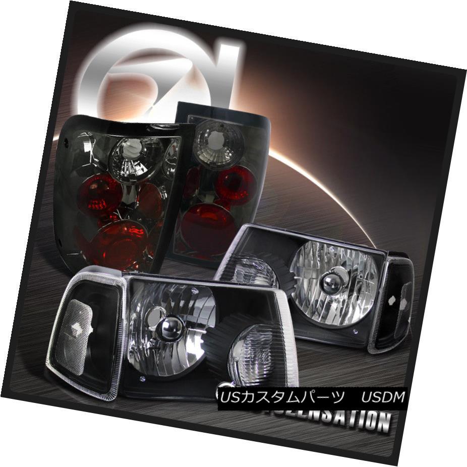 ヘッドライト 2001-2011 Ranger Euro Black Headlights+Corner Signal Lamps+Smoke Tail Lights 2001-2011レンジャーユーロブラックヘッドライト+コルク ner信号ランプ+スモークテールライト