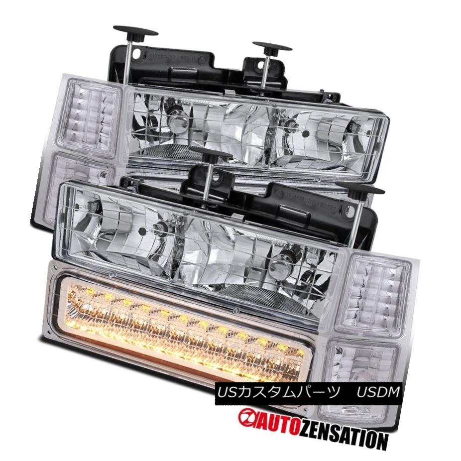 ヘッドライト 94-98 Chevy C/K 1500/2500/3500 Chrome Headlights+LED Bumper Lamps+Corner Lights 94-98 Chevy C / K 1500/2500/3500クロームヘッドライト+ LEDバンパーランプ+コーナーライト