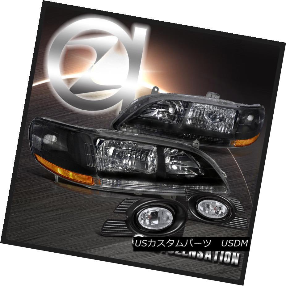 ヘッドライト For Honda 01-02 Accord 4Dr Black Crystal Headlights+Clear Fog Lights w/ Switch ホンダ用01-02アコード4Drブラッククリスタルヘッドライト+ Cle