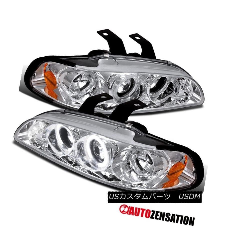 ヘッドライト Fit 92-95 Honda Civic 2/3/4Dr Chrome LED DRL Halo Projector Headlights フィット92-95ホンダシビック2/3 / 4DrクロームLED DRLハロープロジェクターヘッドライト