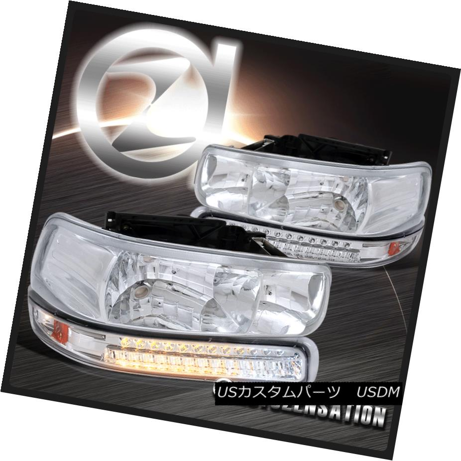 ヘッドライト Chrome 99-02 Silverado 00-06 Tahoe Suburban Crystal Headlight+LED Bumper Lamps Chrome 99-02 Silverado 00-06タホ郊外クリスタルヘッドライト+ LEDバンパーランプ