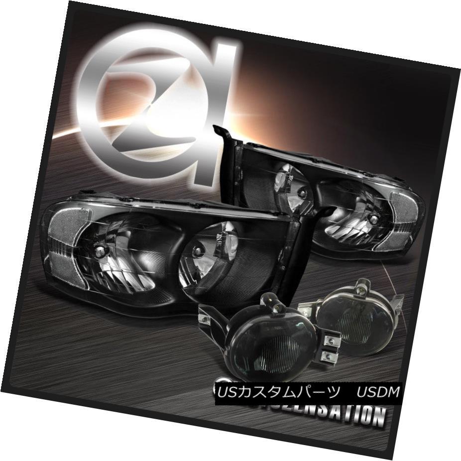 ヘッドライト Dodge 02-05 Ram 1500 03-05 Ram 2500 3500 Black Headlights+Smoke Fog Lamps ドッジ02-05 Ram 1500 03-05 Ram 2500 3500ブラックヘッドライト+スモーキー keフォグランプ