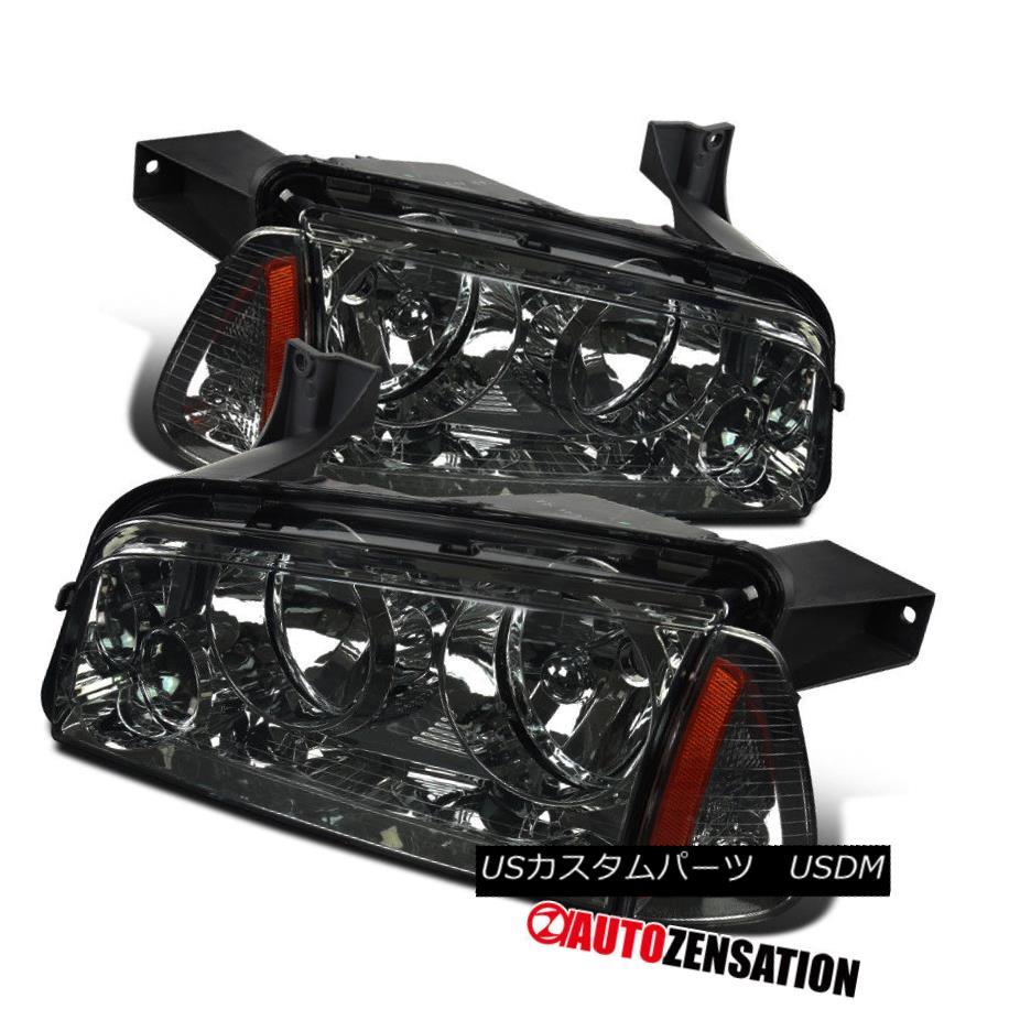 ヘッドライト 06-10 Dodge Charger Smoke Headlights+Corner Lamps LH+RH Replacement Pair 06-10ダッジ・チャージャー・ヘッドライト+オレンジ・ランプLH + RH交換用ペア