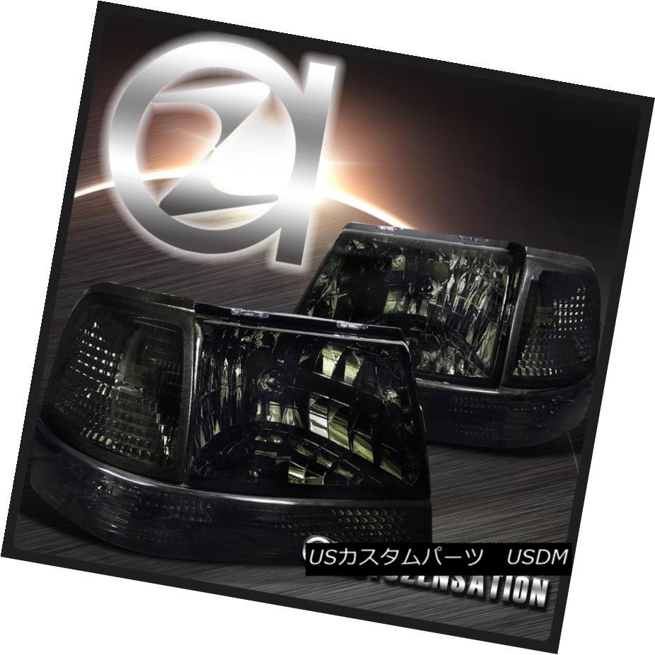 ヘッドライト 1998-2000 Ford Ranger Smoke Headlights+Corner Bumper Signal Lamps 1998?2000フォードレンジャーのヘッドライトの煙+コルク nerバンパーシグナルランプ