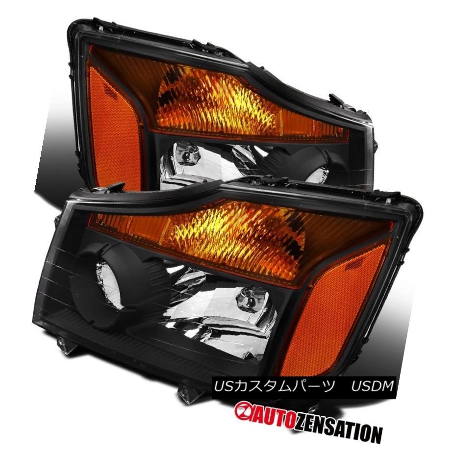 ヘッドライト For Nissan 04-15 Titan 04-07 Armada Pickup Amber Black Crystal Headlights Pair 日産用04-15タイタン04-07アルマダピックアップ琥珀ブラッククリスタルヘッドライトペア