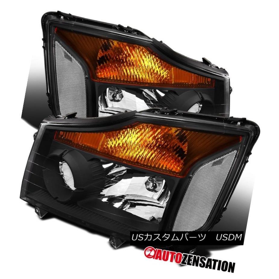 ヘッドライト Fit 04-15 Titan 04-07 Armada Pickup Black Clear Crystal Headlights フィット04-15タイタン04-07アルマダピックアップブラッククリアクリスタルヘッドライト