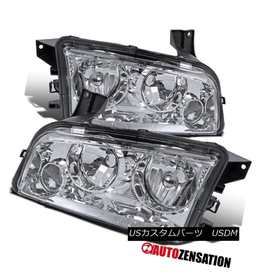 ヘッドライト 2006-2010 Dodge Charger Replacement Chrome Headlights Driving Lamps Left+Right 2006-2010ダッジ充電器の交換クロームヘッドライトランプの駆動左+右