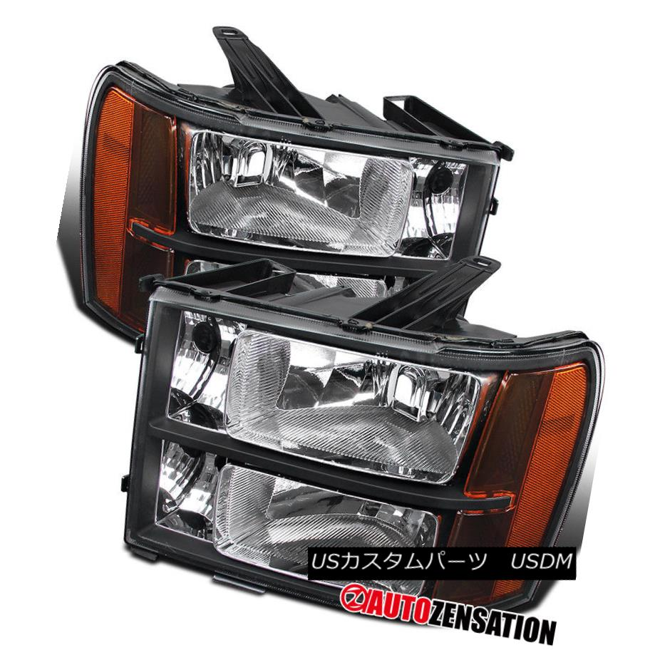 ヘッドライト GMC 07-13 Sierra Denali Hybrid Euro Diamond Black Headlights Pair GMC 07-13シエラデナリハイブリッドユーロダイヤモンドブラックヘッドライトペア