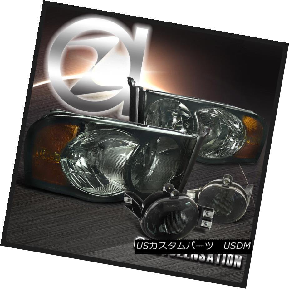 ヘッドライト 02-05 Ram 1500 2500 3500 Smoke Crystal Headlights+Tinted Fog Driving Bumper Lamp 02-05 Ram 1500 2500 3500スモーククリスタルヘッドライト+スズ テッドフォグ駆動バンパーランプ
