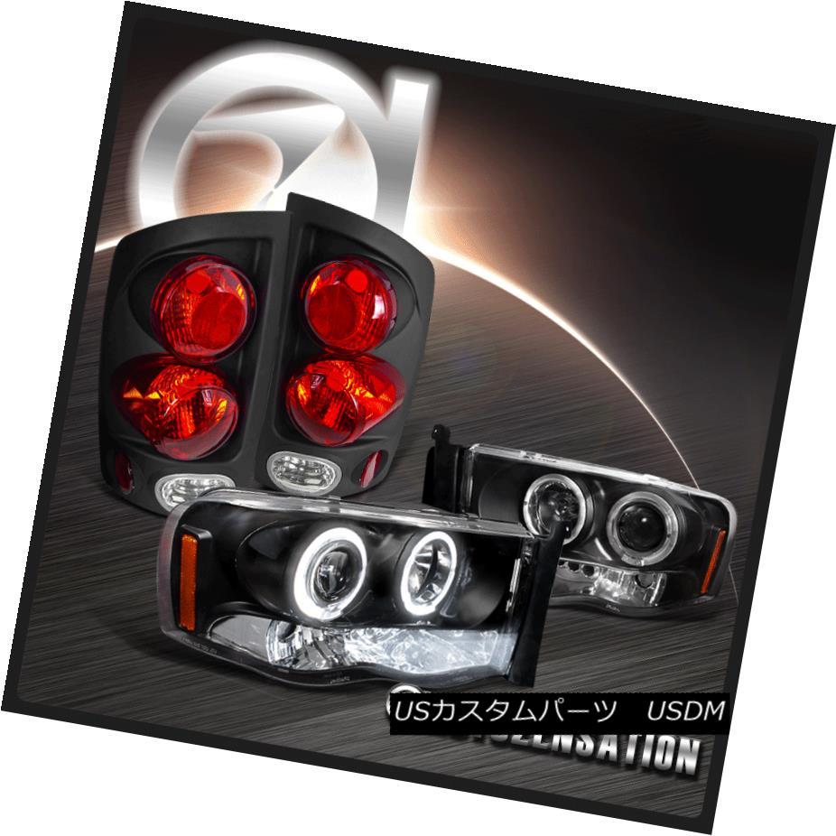 ヘッドライト 02-05 Ram 1500 Black Dual Halo LED Projector Headlights+3D Tail Brake Lamps 02-05 Ram 1500ブラックデュアルハローLEDプロジェクターヘッドライト+ 3Dテールブレーキランプ