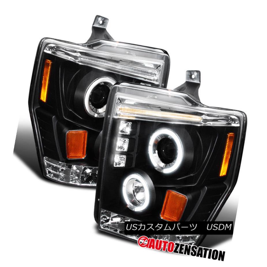ヘッドライト 08-10 Ford F250 F350 F450 Super Duty Black LED Halo Projector Headlights 08-10フォードF250 F350 F450スーパーデューティブラックLEDハロープロジェクターヘッドライト