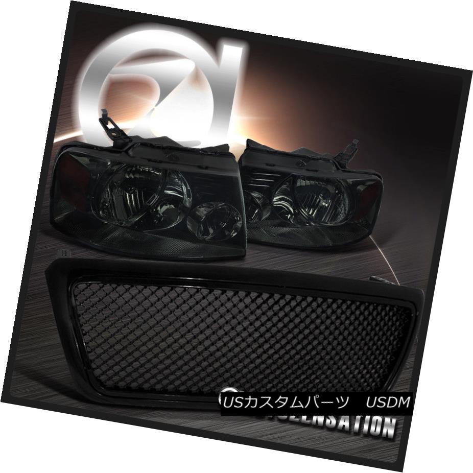 ヘッドライト 04-08 Ford F150 Euro Crystal Smoke Headlights+Black Honeycomb Mesh Hood Grille 04-08 Ford F150ユーロクリスタルスモークヘッドライト+ Bla  ck Honeycomb Mesh Hood Grille