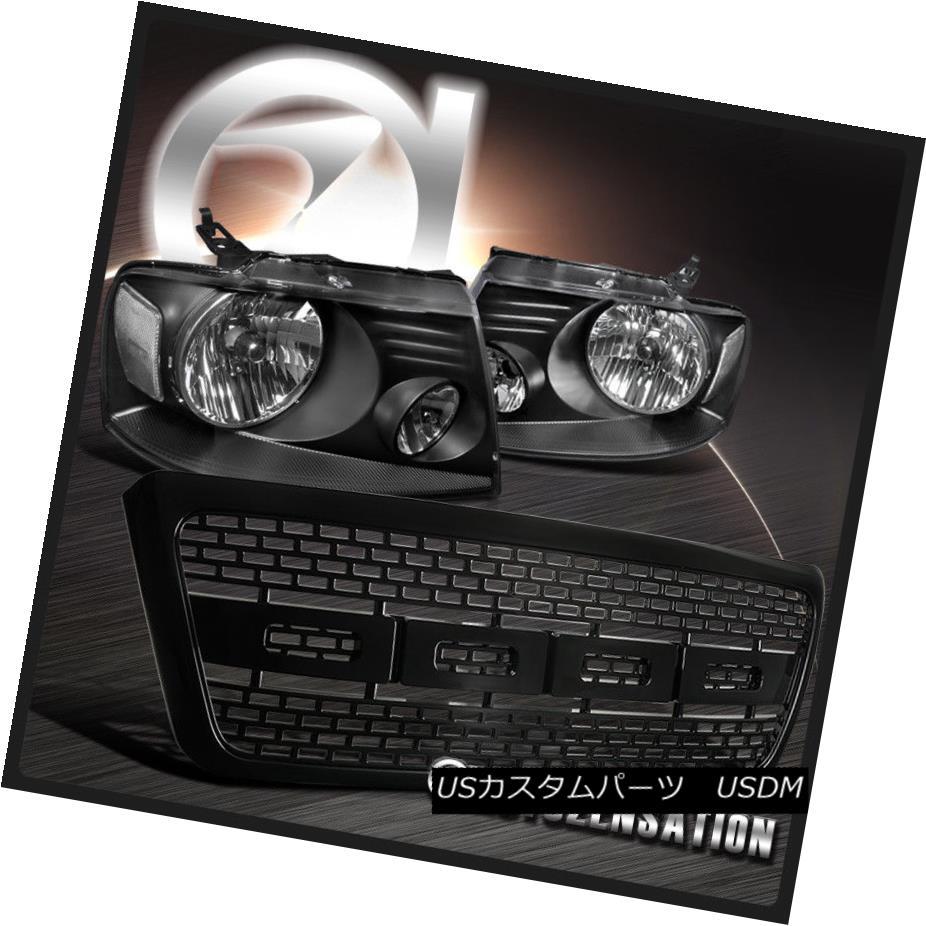 ヘッドライト 04-08 Ford F150 06-08 Lincoln Mark LT Black Headlights+Raptor Style Bumper Grill 04-08 Ford F150 06-08リンカーンマークLTブラックヘッドライト+ラップ torrent Style Bumper Grill