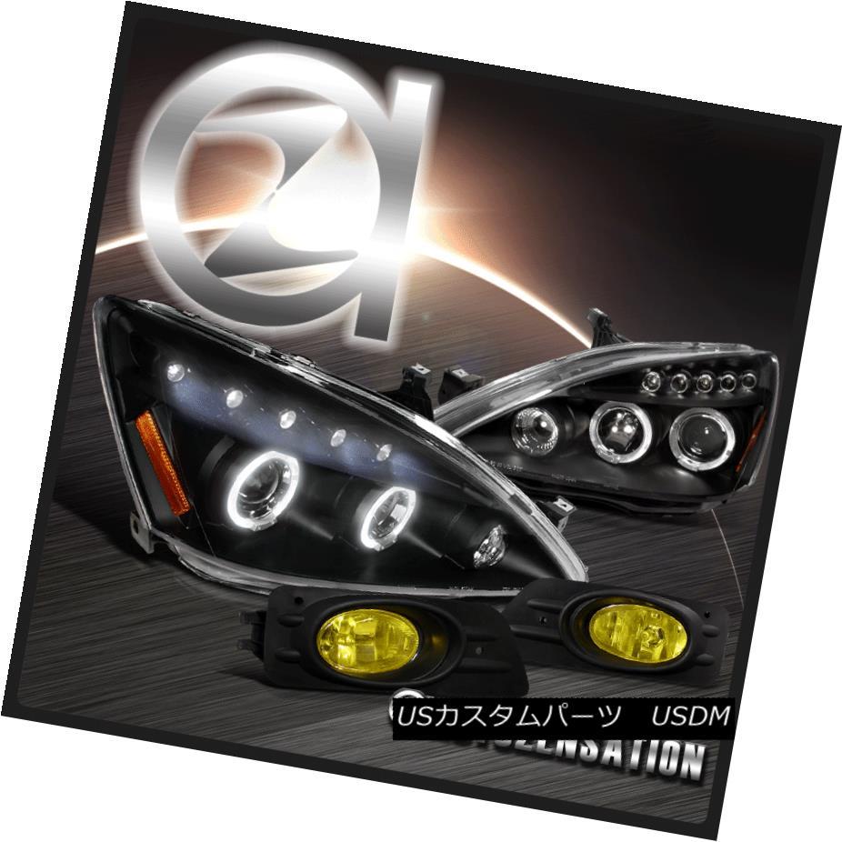 ヘッドライト Fit 06-07 Honda Accord 4dr Black Halo Projector LED Headlights+Bumper Fog Lamps フィット06-07ホンダアコード4drブラックハロープロジェクターLEDヘッドライト+ブーム 1本のフォグランプ