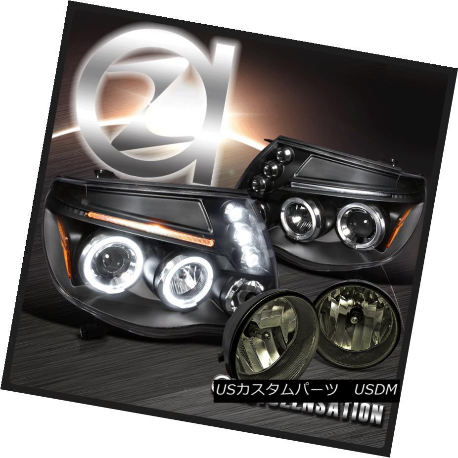 ヘッドライト For 05-11 Tacoma Black LED Halo Projector Headlights+Smoke Bumper Fog Lamps 05-11用タコマブラックLEDハロープロジェクターヘッドライト+スモーク keバンパーフォグランプ