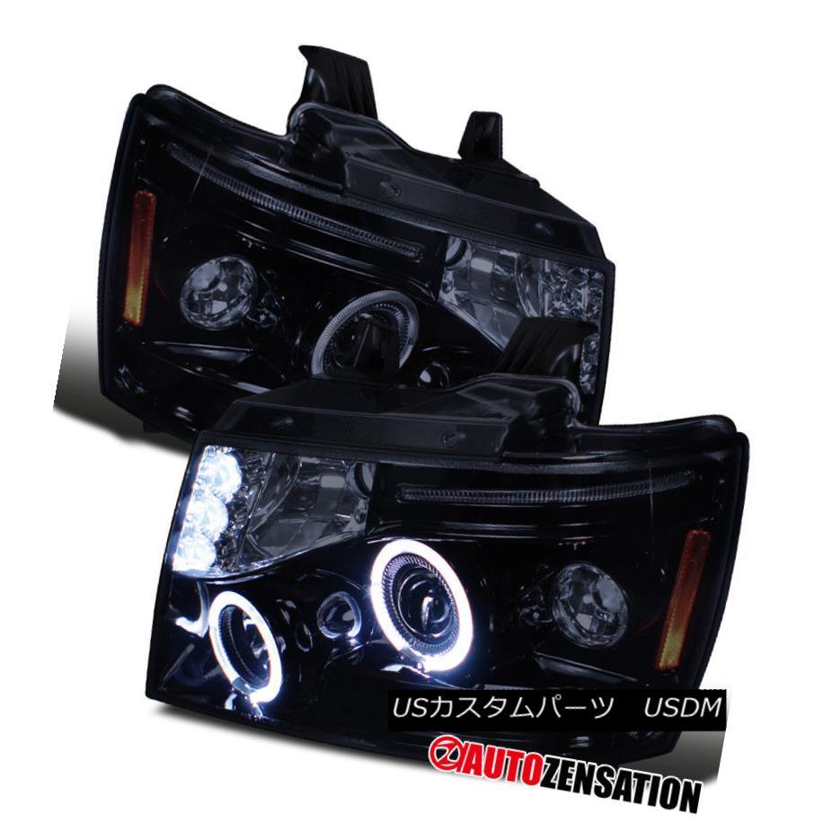 ヘッドライト 07-13 Avalanche Tahoe Suburban Glossy Black LED DRL Halo Projector Headlights 07-13アバランチェタホ郊外光沢ブラックLED DRLハロープロジェクターヘッドライト
