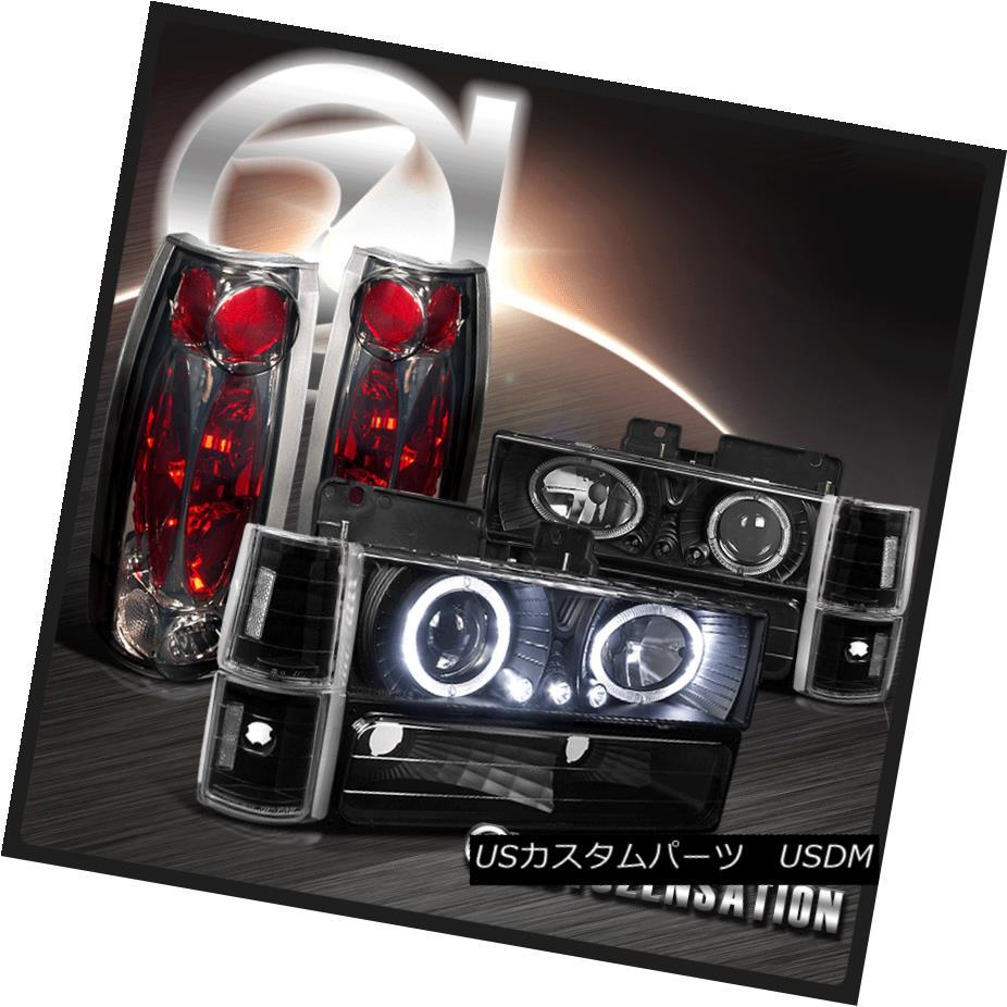 ヘッドライト 94-98 GMC Sierra Yukon Black Halo LED Projector Headlights+Smoke Tail Lamps 94-98 GMC Sierra YukonブラックハローLEDプロジェクターヘッドライト+スモーク keテールランプ