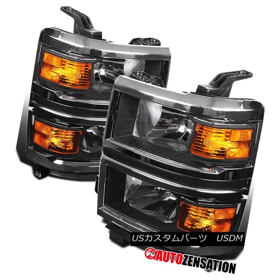 ヘッドライト 2014-2015 Chevy Silverado 1500 Pickup Black Headlights Corner Signal Lamps Pair 2014-2015 Chevy Silverado 1500ピックアップブラックヘッドライトコーナー信号ランプペア