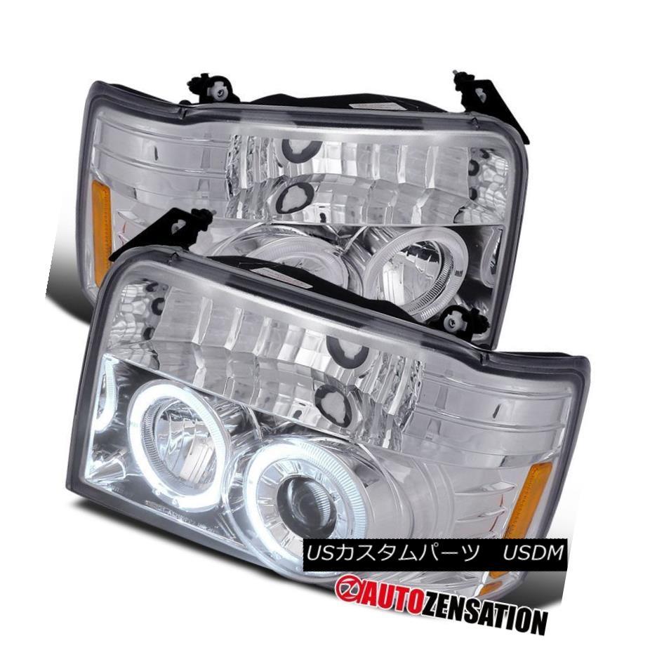 ヘッドライト 92-96 Ford F150 F250 F350 Bronco Chrome Halo Projector Headlights 92-96 Ford F150 F250 F350ブロンコクロームハロープロジェクターヘッドライト